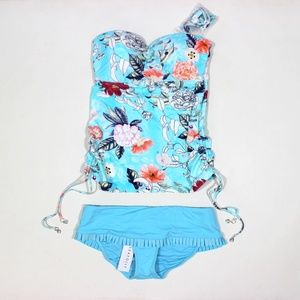 Seafolly Bandeau Tankini Skirted Bottom Swimsuit